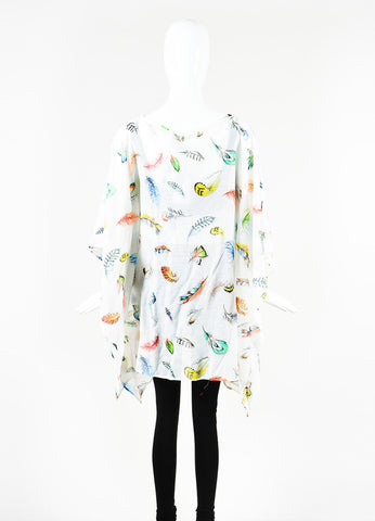 Roberto Cavalli White and Multicolor Feather Print Sheer Short Kaftan Backview