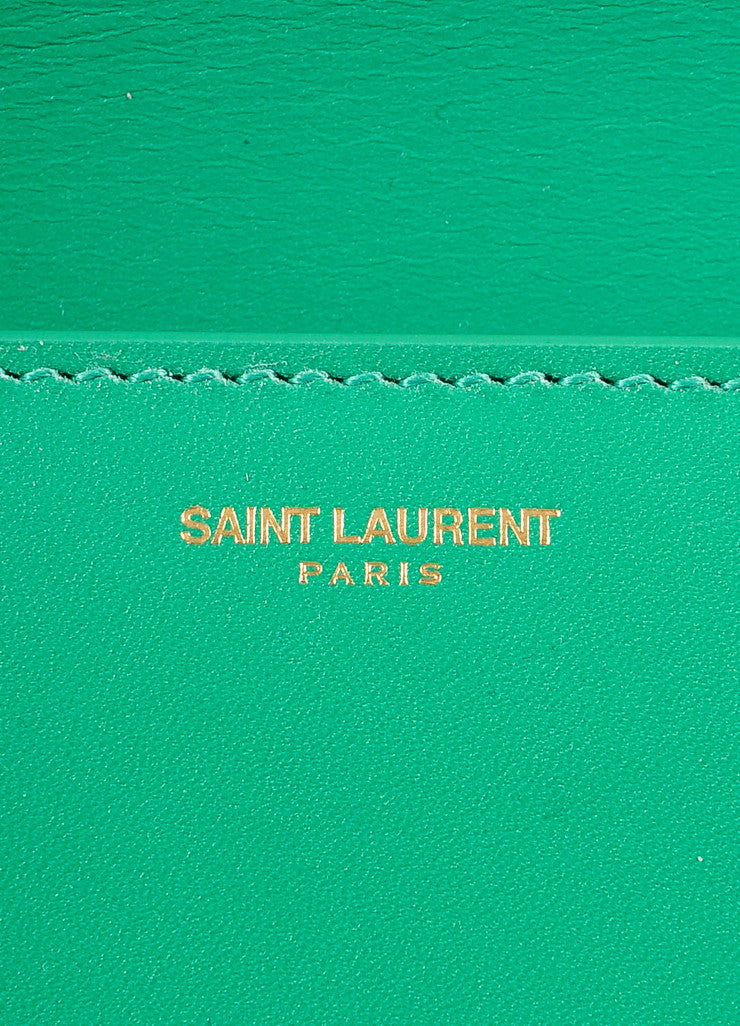 "Saint Laurent New With Tags Green Leather ""Borsa Betty 2"" Medium Chain Hanbag Brand"
