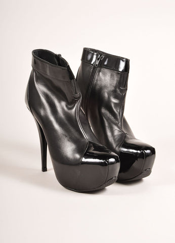 Stuart Weitzman New In Box Black Leather Platform Ankle Booties Frontview