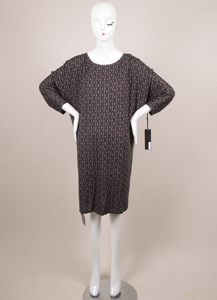 Thakoon New With Tags Grey and Black Jersey Rope Printed Dolman Sleeve Dress Frontview