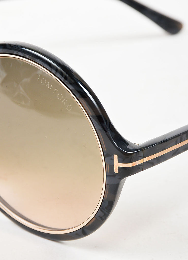 "å´?ÌÜTom Ford Grey Mottled Gold Toned Trim ""Carrie"" Oversized Round Sunglasses Detail"