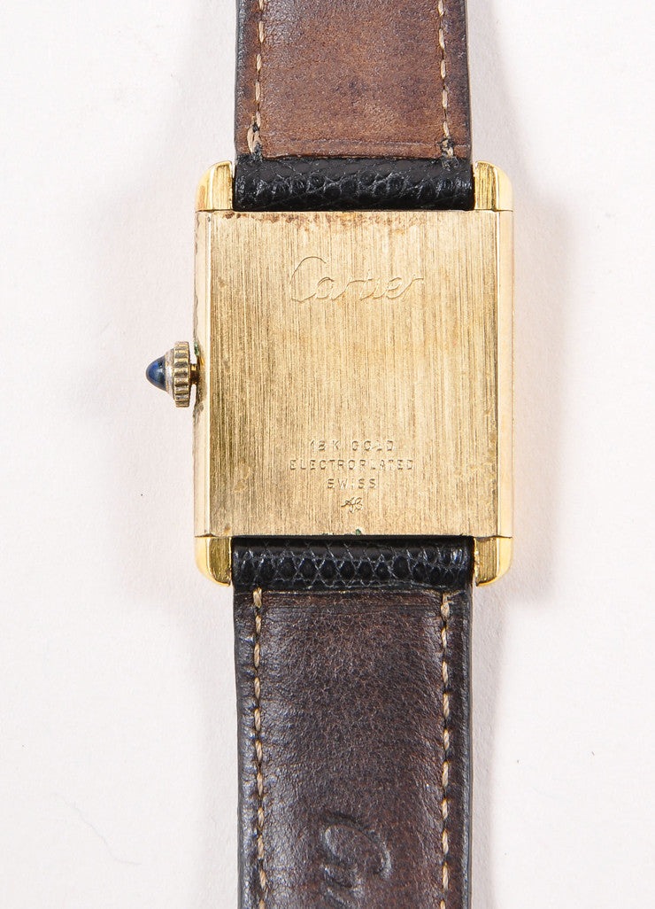 "Cartier 18K Gold Plated and Black Leather Strap ""Tank"" Automatic Watch Detail 3"