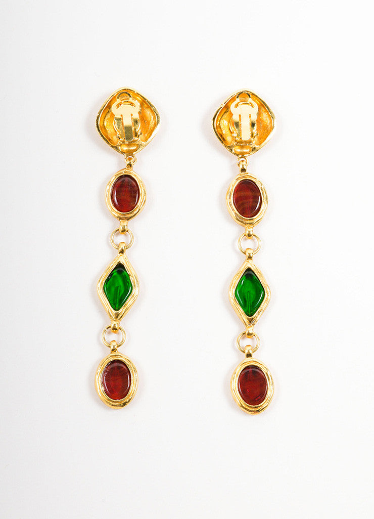 "Chanel Gold Toned, Red, and Green Gripoix ""Coco Chanel"" Drop Earrings Backview"