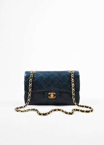 "Chanel Navy Blue Gold Toned Chain Strap ""Small Classic Double Flap"" Bag Frontview"