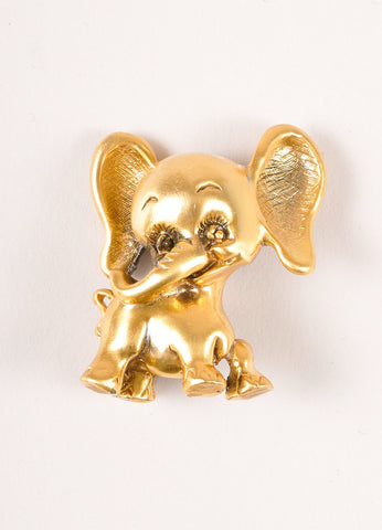 Tortolani Gold Toned Elephant Pin Brooch Frontview