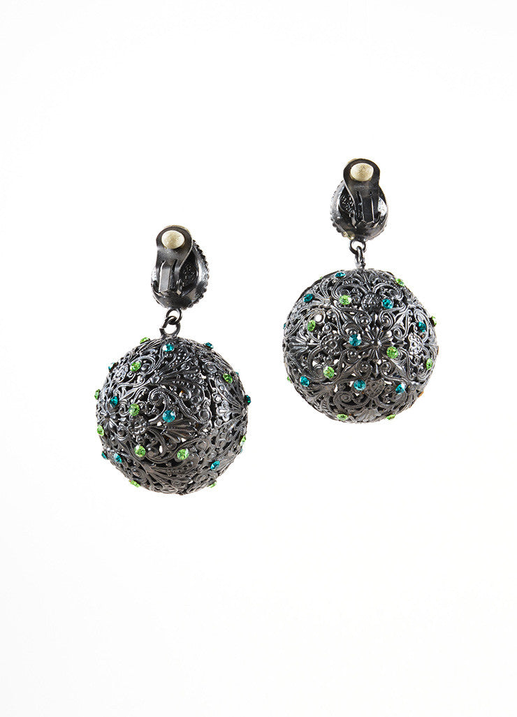Yves Saint Laurent Grey, Blue, and Green Rhinestone Metal Ball Drop Earrings Backview