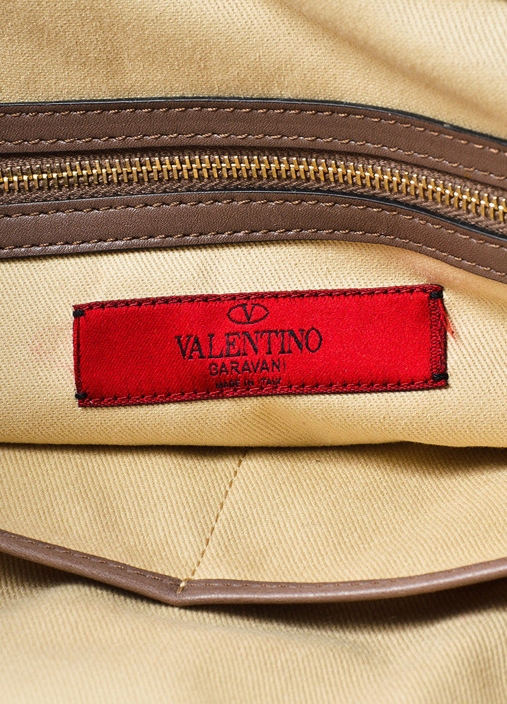 Valentino Brown, Tan, and Gold Leopard Print Pony Hair Rocktstud Handbag Brand