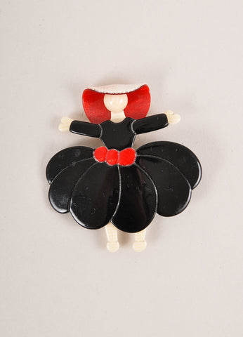 Lea Stein Black, Red, and Cream Acetate Dancing Woman Brooch Frontview