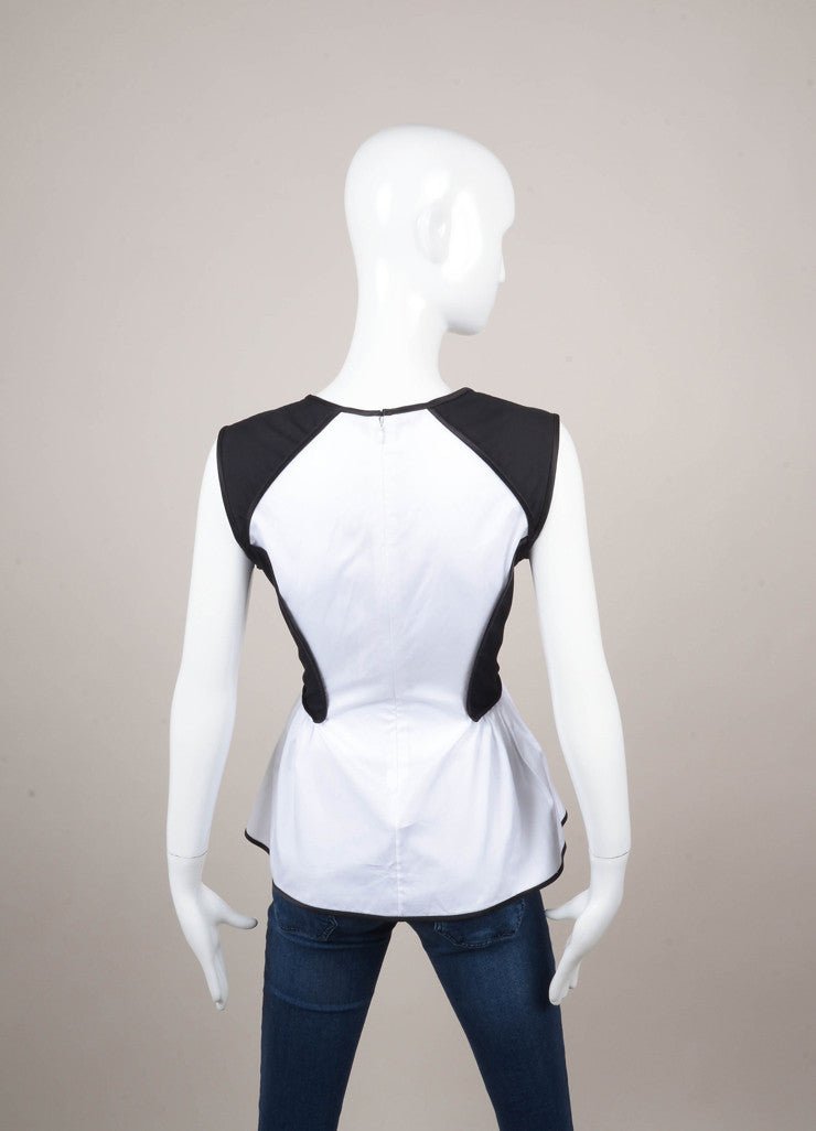 Black and White Color Block Sleeveless Cotton Peplum Top