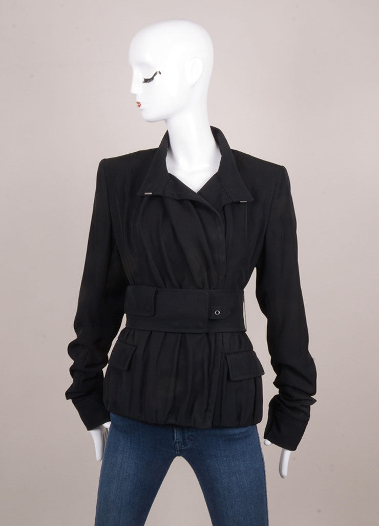 Black Yves Saint Laurent Gathered Hem and Ruched Sleeve Belted Jacket