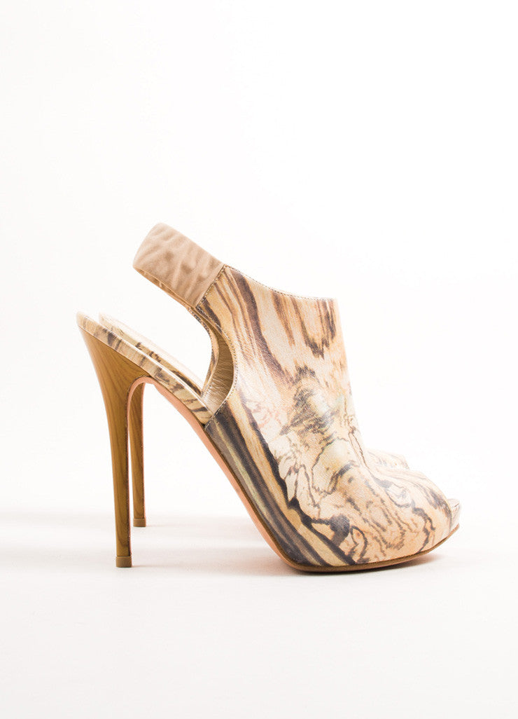 Alexander McQueen Cream Wood Grain Platform Slingback Sandals Sideview