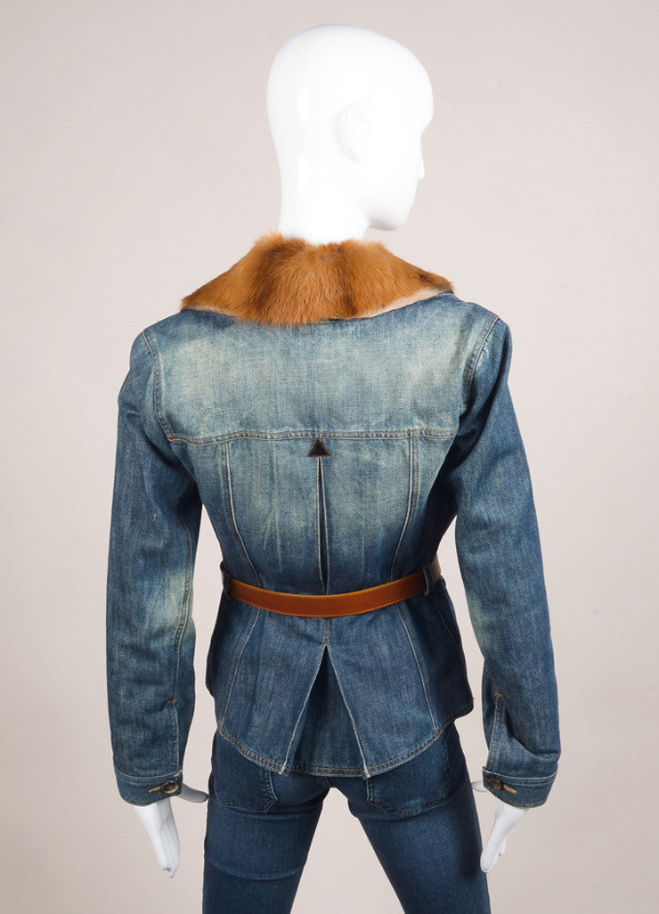 Alexander McQueen Blue and Tan Denim Removable Fur Collar Belted Jacket Backview