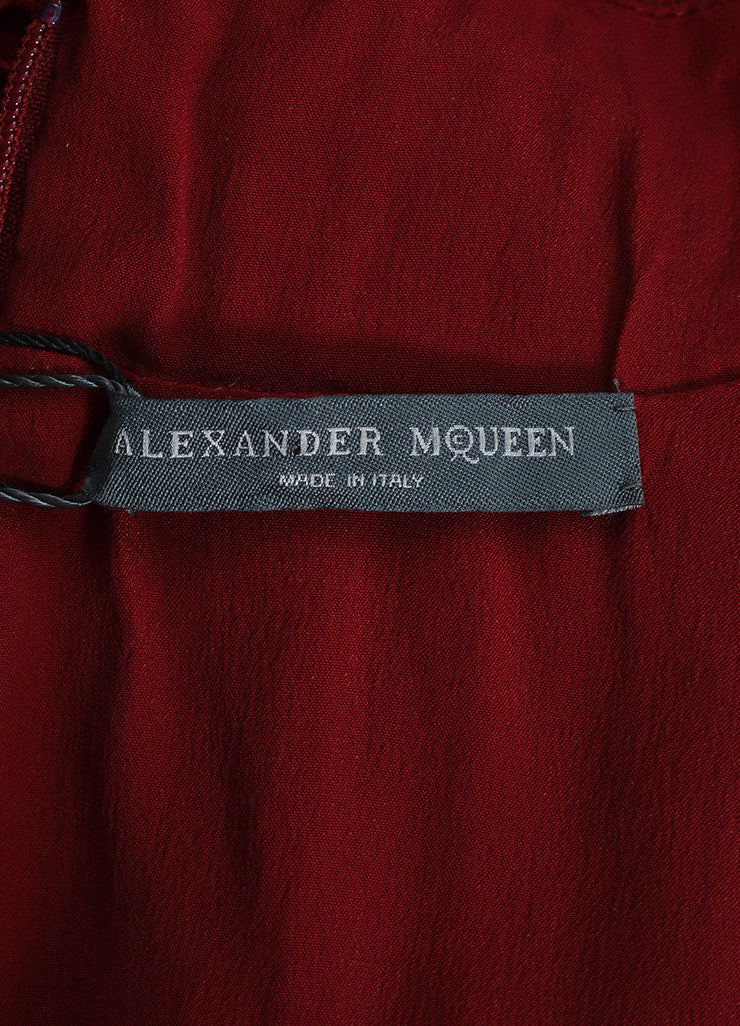 Burgundy Alexander McQueen Wool Blend Lace Paneled Pleated Dress Brand
