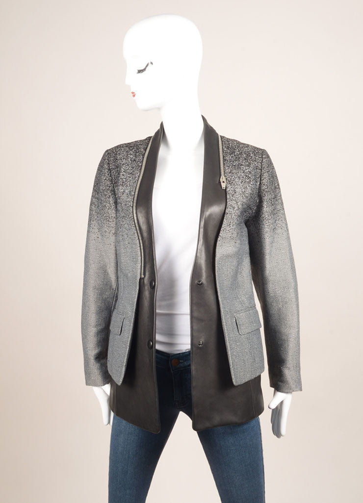 Alexander Wang Grey and Black Cotton and Leather Ombre Blazer Jacket Frontview