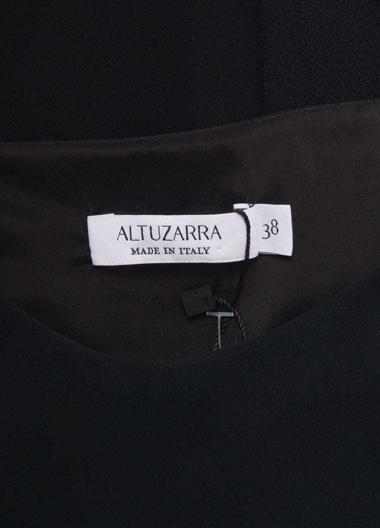 Altuzarra New With Tags Black Multi Texture Belted Short Sleeve Dress Brand