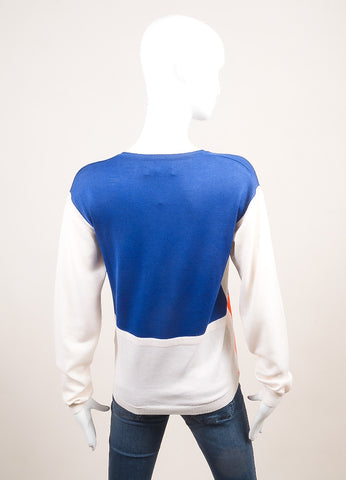 Altuzarra New With Tags Blue, Orange, and Cream Wool Colorblock Sweater Backview