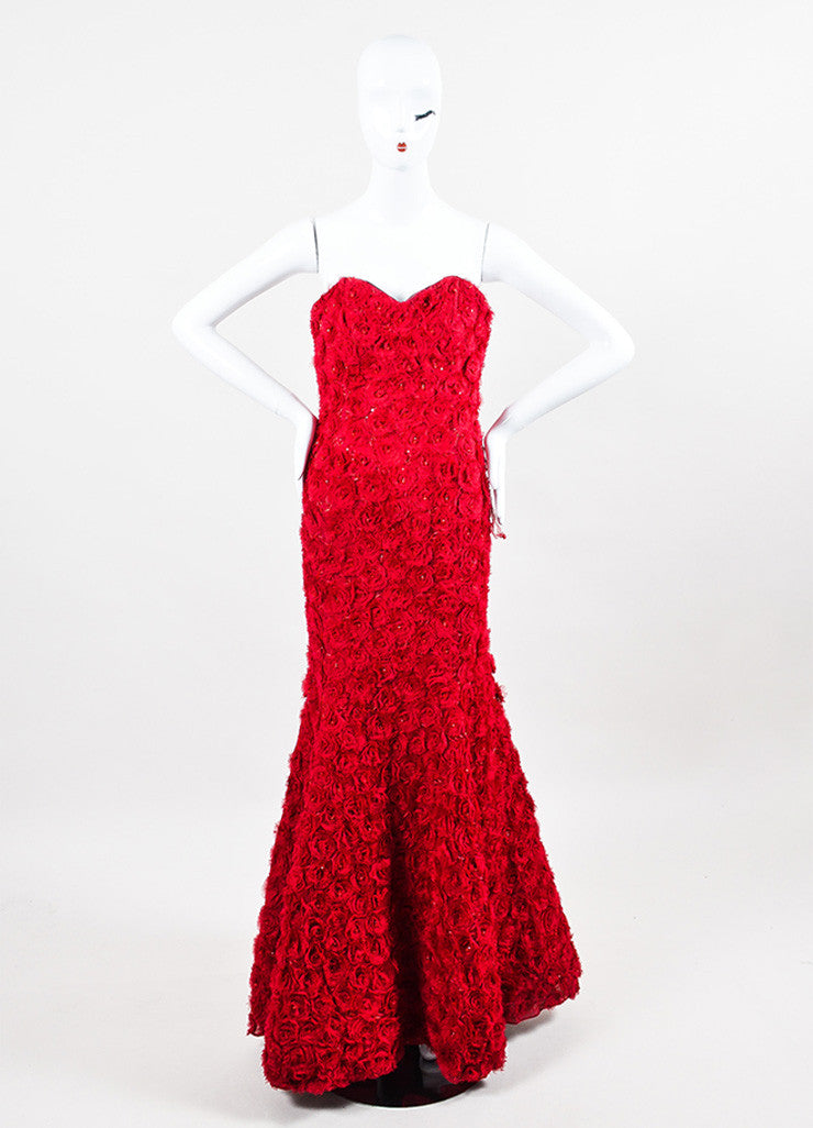 Anna Maier Couture Red Chiffon Rosette Beaded Strapless Sweetheart Mermaid Gown Frontview