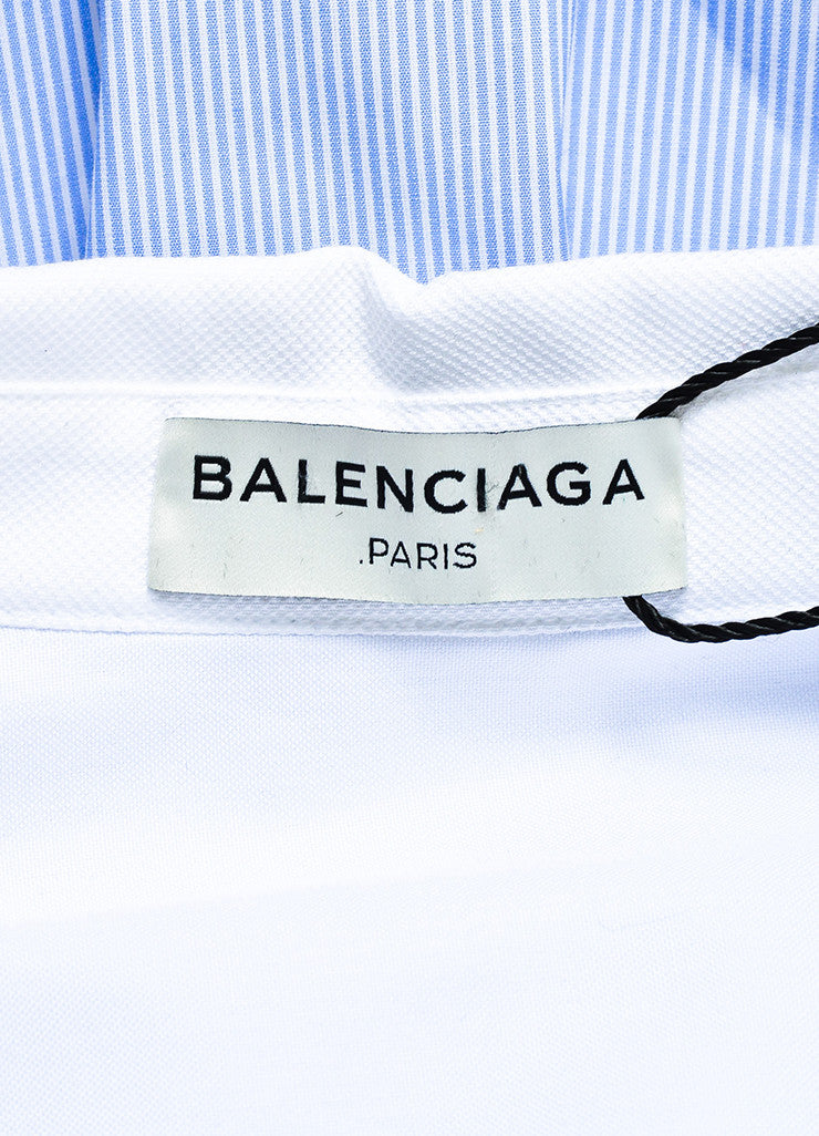 Balenciaga Blue and White Striped Oversized High Low Button Down Shirt Brand