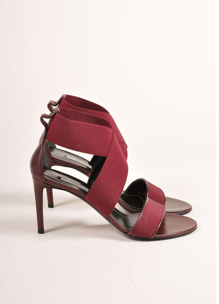Balenciaga New In Box Maroon Elastic Leather Strappy High Heel Sandals Sideview