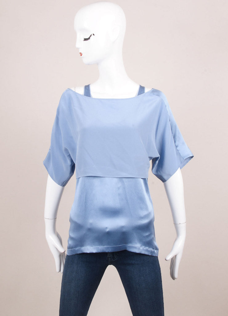 Barbara Bui New With Tags Blue Silk Layered Top Frontview