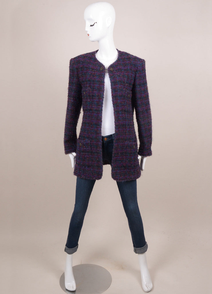 Chanel Purple and Green Wool Blend Tweed Long Jacket Frontview Closed