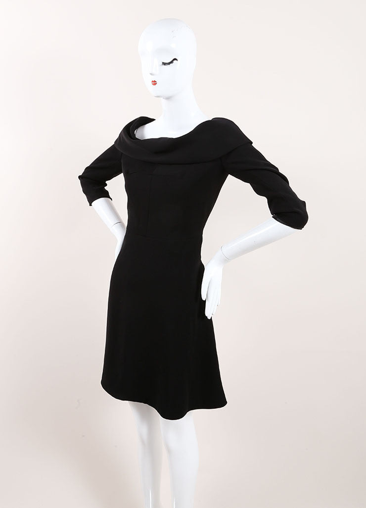 Carven Black Cuffed Off Shoulder Quarter Sleeve Dress Sideview
