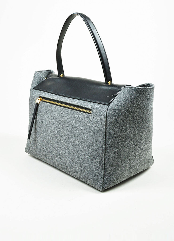 "Black and Grey Wool and Felt Top Handle Celine ""Belt"" Flap Bag Sideview"