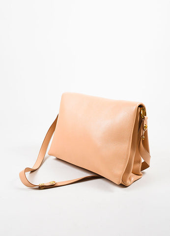"Celine Blush and Gold Toned Grain Leather Flap ""Blade"" Crossbody Bag Sideview"