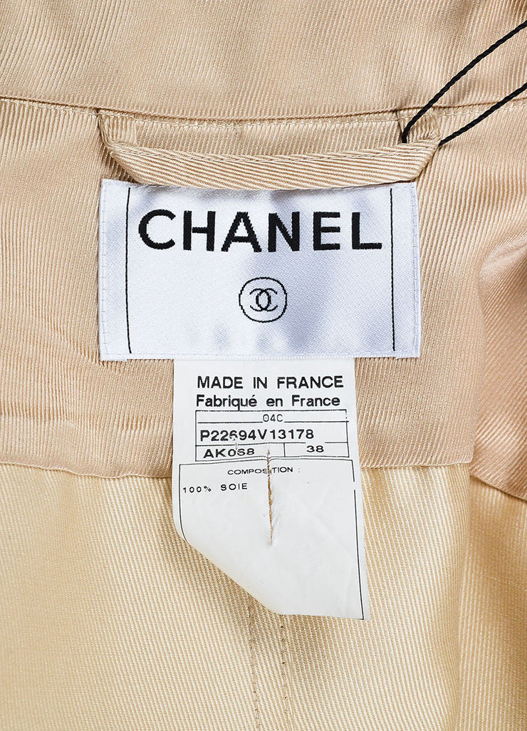 Nude Tan Chanel Silk Twill Double Breasted Trench Coat Brand