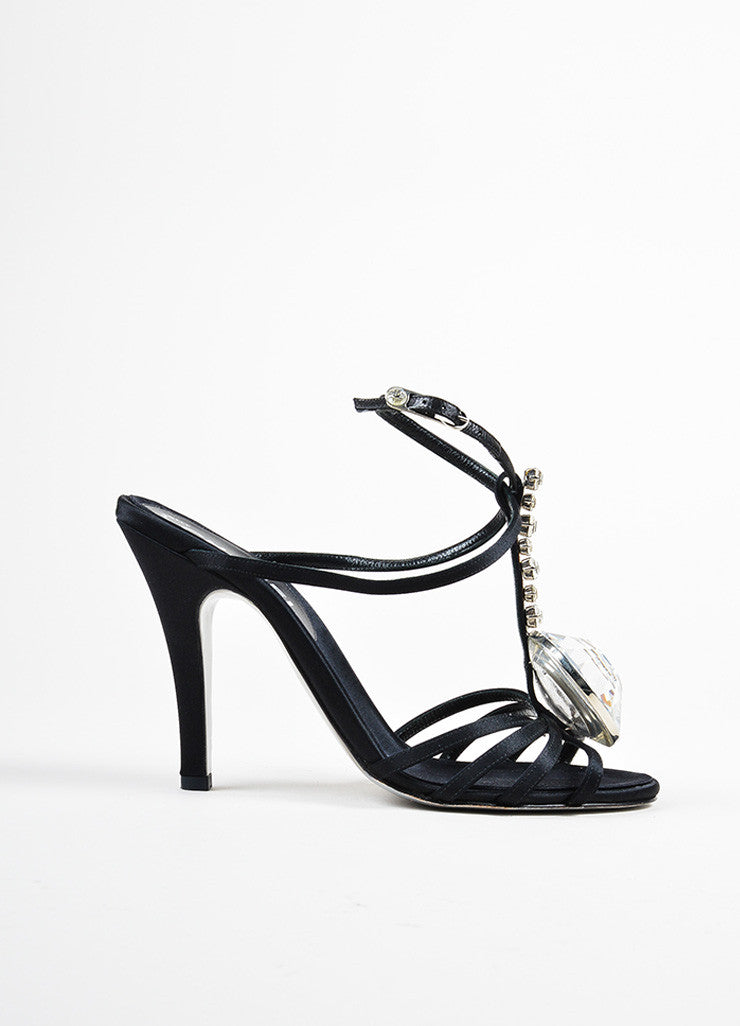 Black Satin Chanel Oversized Rhinestone Strappy Heel Sandals Sideview