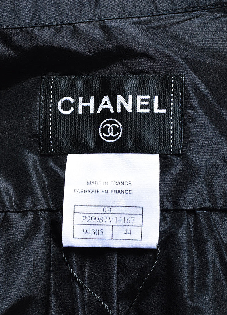 Chanel Black Silk Taffeta Ruffle 'CC' Button Lightweight Jacket Brand