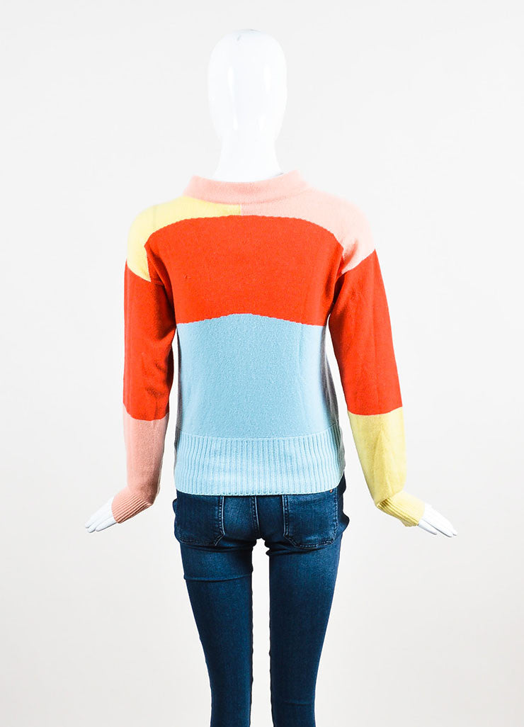 Chanel Blue, Pink, and Yellow Cashmere Colorblock Airplane Pin Sweater Backview