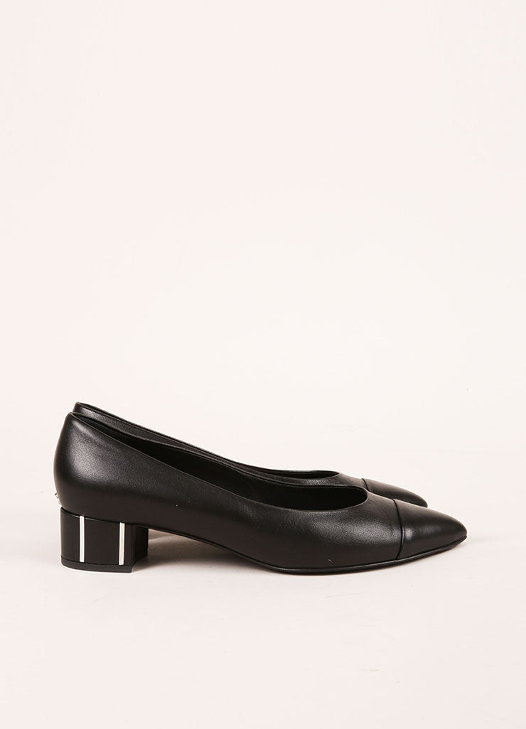Chanel Black Leather and Silver Toned Stripe Cap Toe Pumps Sideview