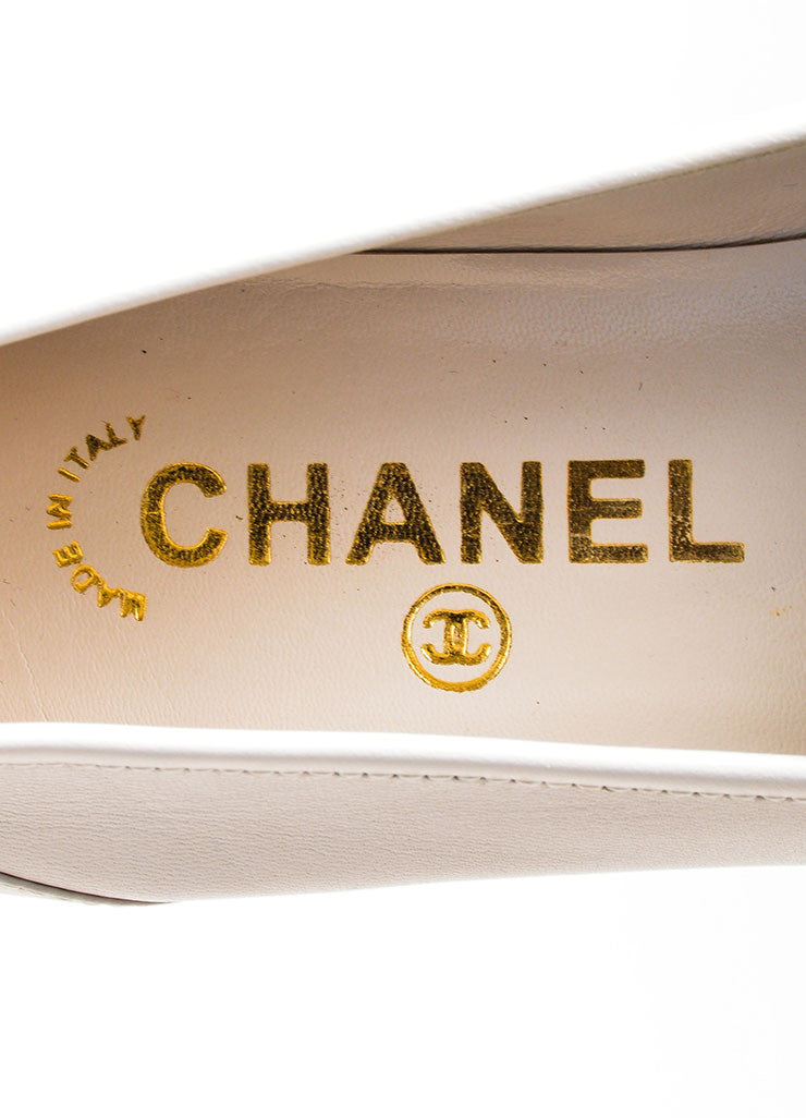 Beige Leather Chanel 'CC' Embroidered Round Toe Moccasin Loafers Brand