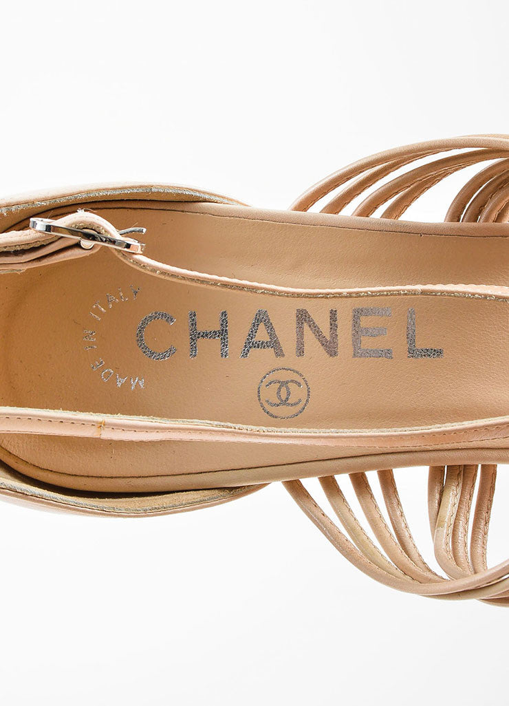 Chanel Beige Nude Leather Strappy Knotted High Heel Sandals Brand