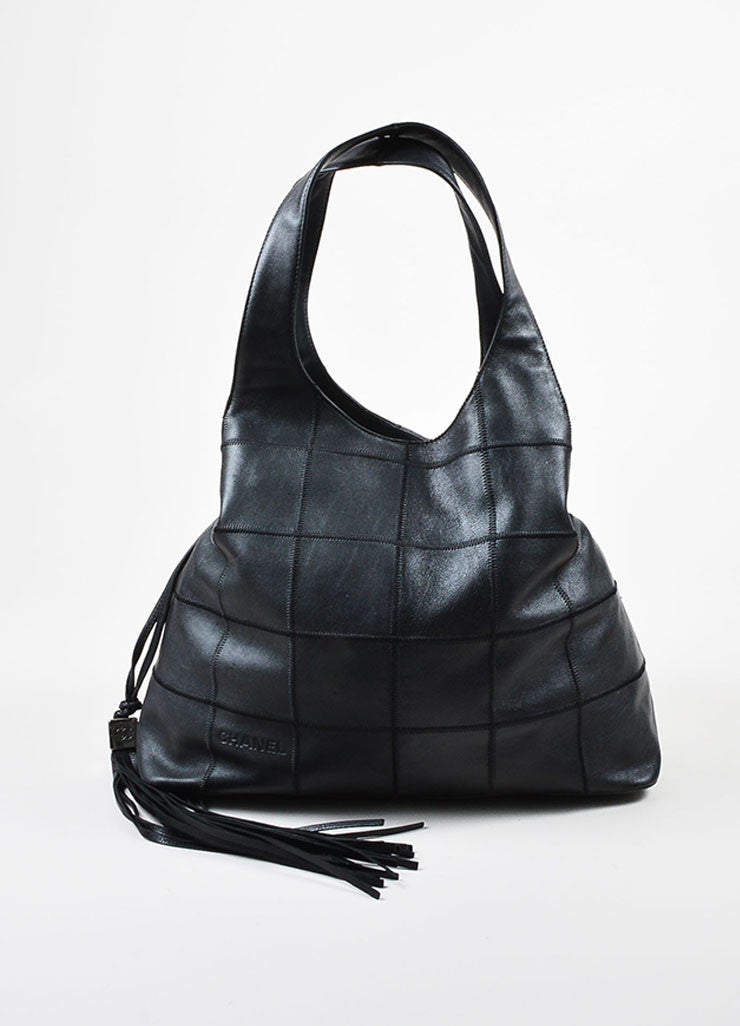 Black Chanel Lambskin Leather Square Stitch Tassel Drawstring Tote Bag Frontview