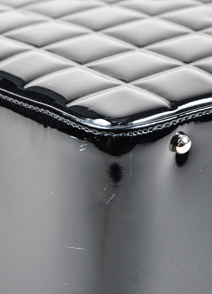 Black Patent Leather Chanel Chocolate Bar 'CC' Large Camera Case Bag Detail 2