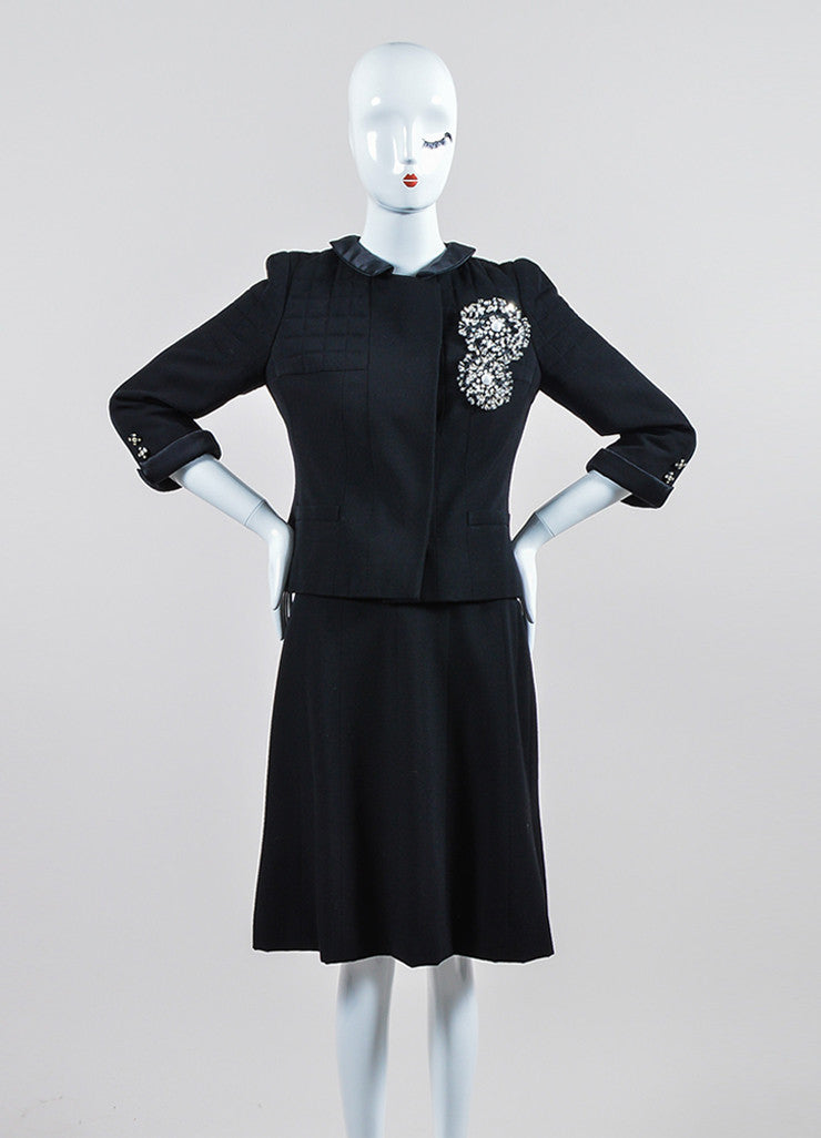 Black Chanel Wool and Silk Jacket and Skirt Suit Frontview