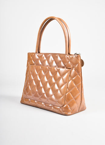 Chanel Camel Patent Leather Quilted 'CC' Medallion Tote Bag angle