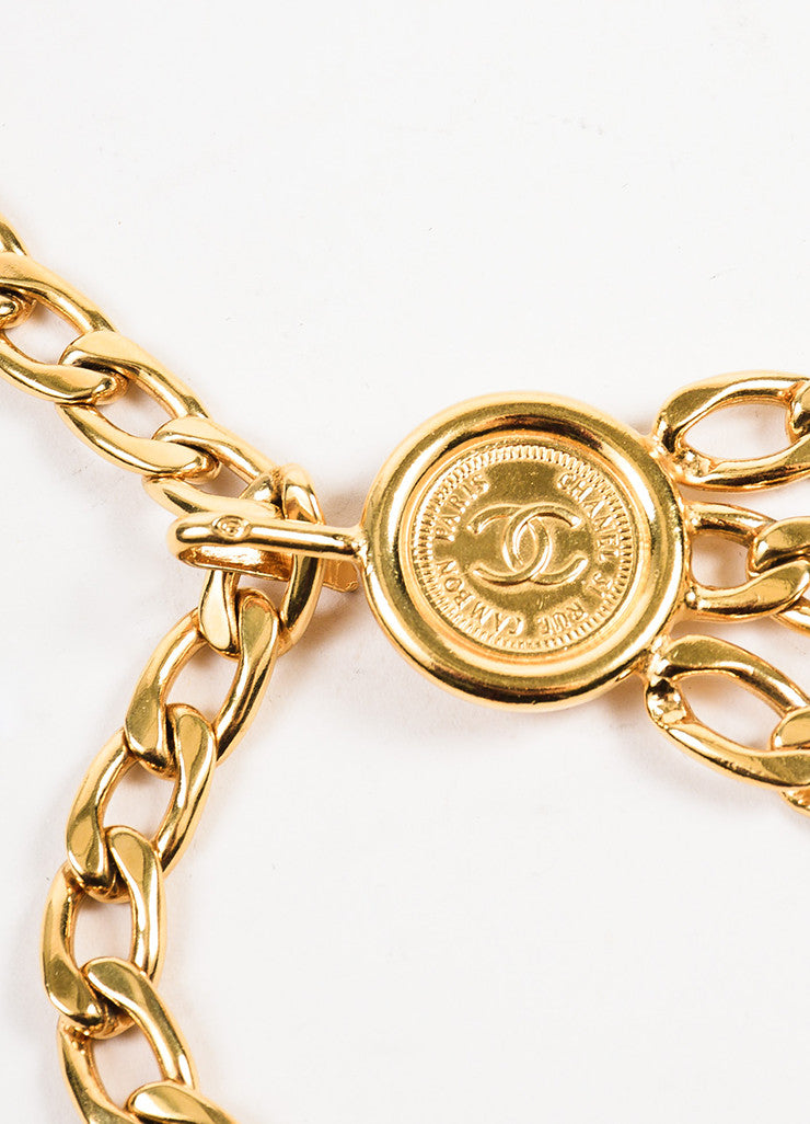 Chanel Gold Toned Triple Strand Chain Link 'CC' Coin Medallions Belt Detail
