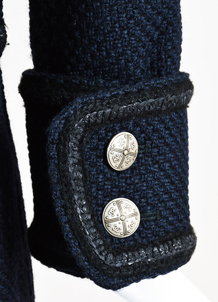 Chanel Navy and Black Woven Wool Tweed Trim Long Sleeve Coat Detail 2