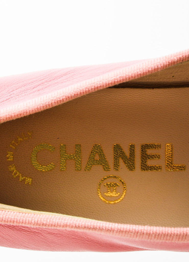 Pink and Black Chanel 'CC' Cap Toe Ballerina Flats Brand