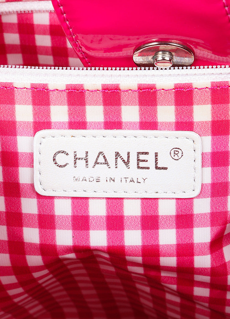"Chanel Pink With Silver Tone Hardware Patent Quilted 'CC' Logo Chain Strap ""Accordion"" Tote Label"