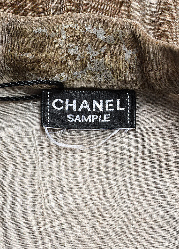 Chanel Sample Taupe Silk V-Neck Short Sleeve Ruffle Flare Hem Dress Brand
