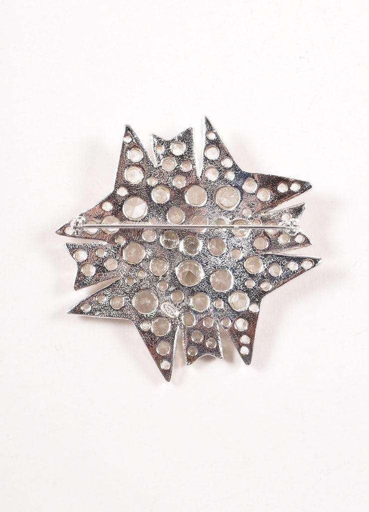 Chanel Silver Toned Clear Crystal Rhinestone Embellished Starburst Pin Brooch Backview
