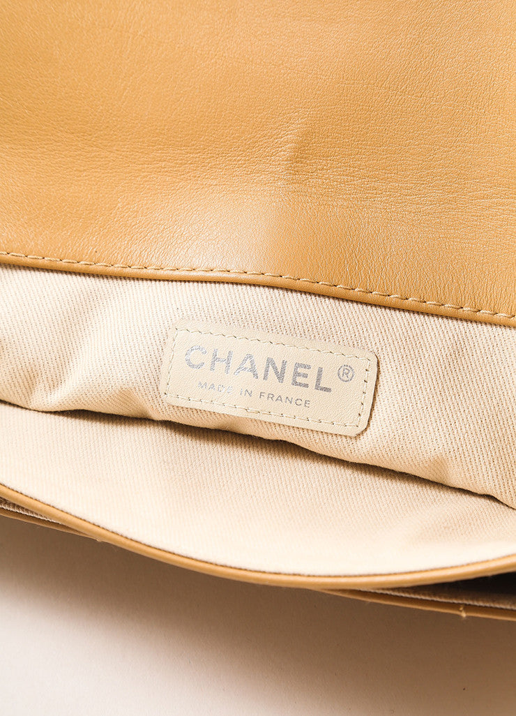 Chanel Tan Quilted Leather Flap Turn Lock Shoulder Bag Brand