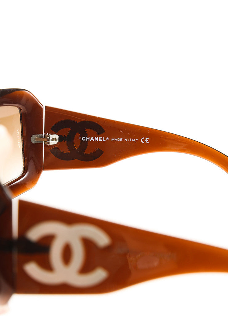 "Chanel Tortoise and White Plastic and Mother of Pearl ""CC"" Logo ""5076H"" Sunglasses Brand"