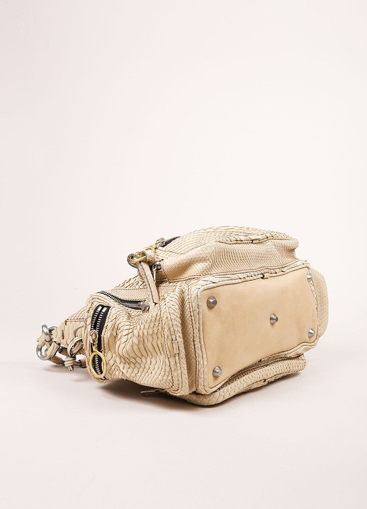 "Chloe Cream Python Leather ""Betty"" Chain Link Shoulder Bag Bottom View"