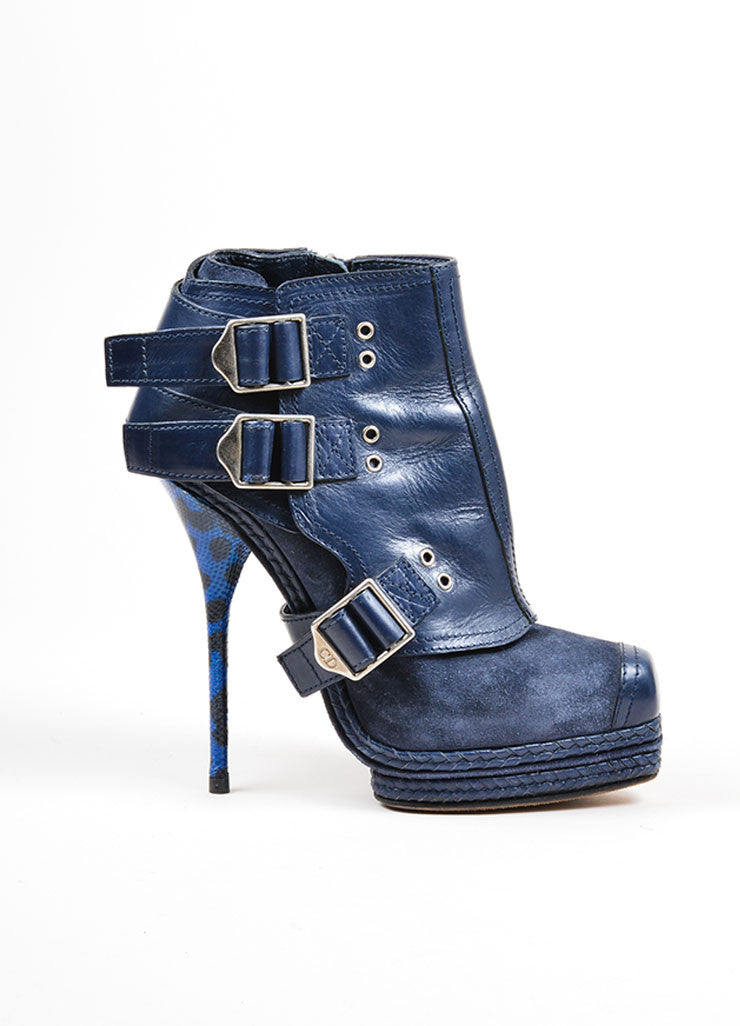 Blue Christian Dior Suede and Snakeskin Embossed Leather Stiletto Moto Boots Sideview