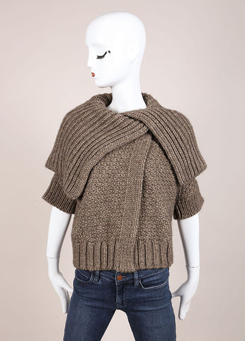 Christian Lacroix Brown Woven Chunky Knit Short Sleeve Sweater Cardigan Frontview